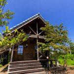 滋賀県高島市新旭町 青い瓦屋根が特徴的な温泉付き中古ログハウス