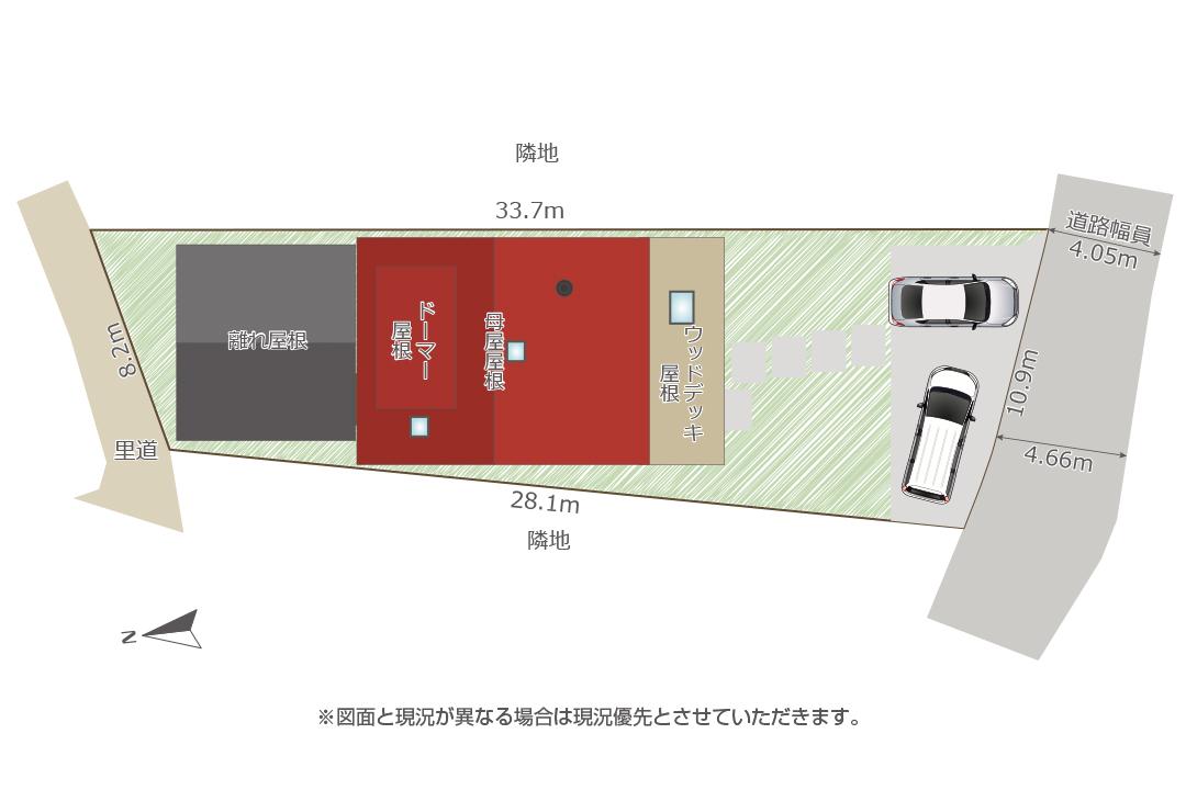 配置図。2台駐車可