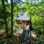 京都府南丹市園部町 渓流に面する木道のある本格ログハウス
