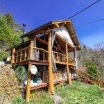 京都府南丹市園部町 高台の見晴らしのいい広々ウッドデッキのログハウス